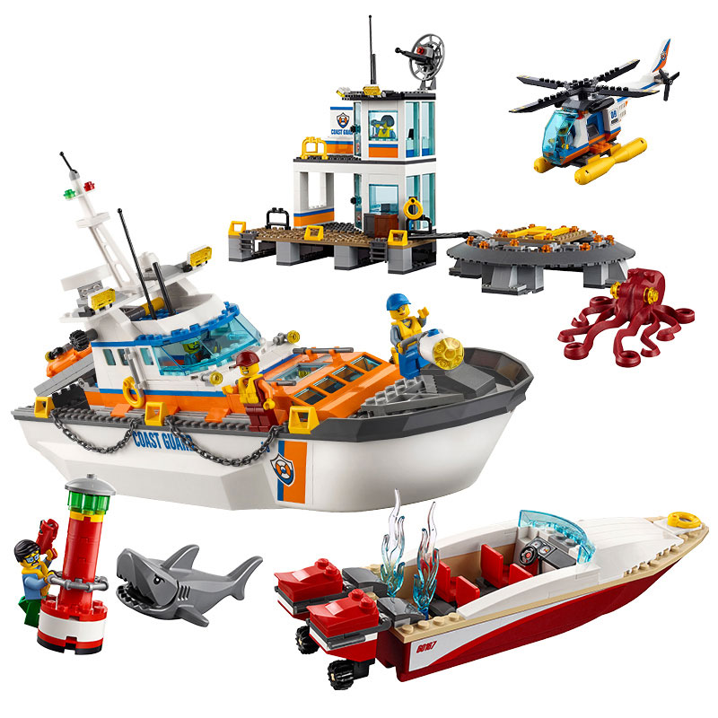 Lepin 02081 855PCS city series building blocks Coast Guard Base children's science and education assembly compatible toys цена и фото