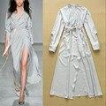 Платье длинный рукав, длинная офис женщины роскошь сексуальный разрез бутик элегантный нобелевской вечернее платье