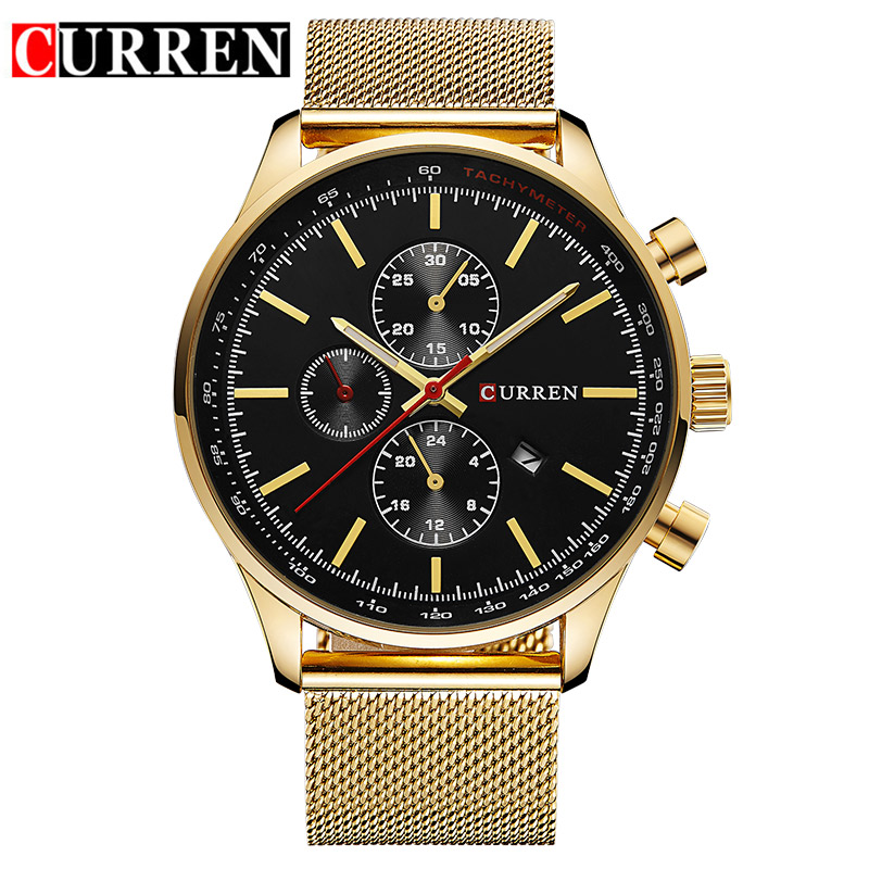 2016 CURREN Watches Luxury Brand Men Watch Full Steel Fashion Quartz-Watch Casual Male Sports Wristwatch Date Clock Relojes 8227 rosra brand men luxury dress gold dial full steel band business watches new fashion male casual wristwatch free shipping