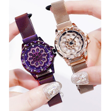 Women Luxury Magnet Bracelet Watches 360 Rotate Creative Lucky Ladies Stainless Steel Gold Quartz Watch Relogio Feminino