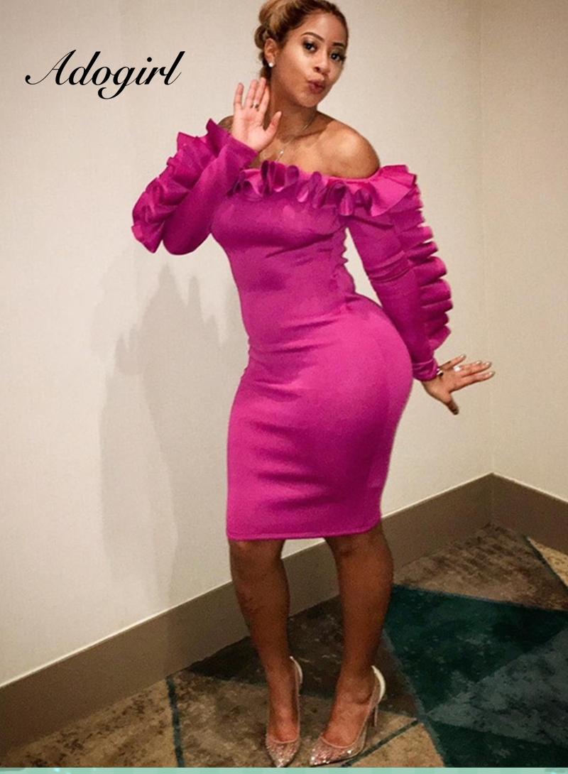 Adogirl 2018 Sexy Women Slash Neck Bodycon Mini Dress Off Shoulder Ruffle Long Sleeve Pencil Dress Clubwear Party Dress 0038