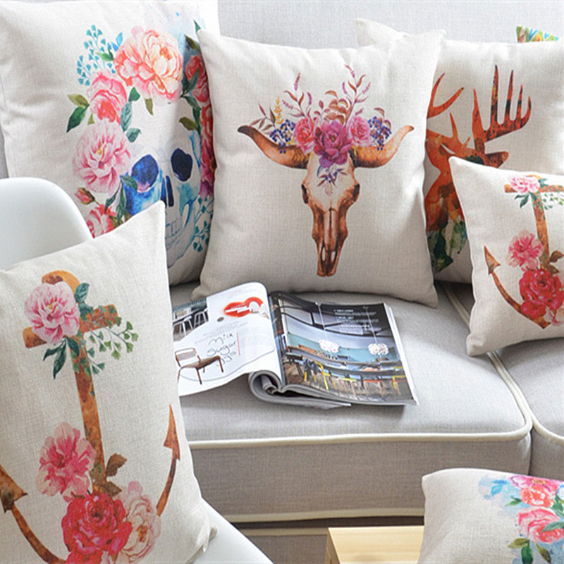 Home Decor Cushions bermo linen pillow cover cushion sketch ripple pillow home decor geometric figure blue rectangle Watercolor Skull Anchor Flowers Pillow Home Decor Cushion Retro Decorative Sofa Car Chair Cushions
