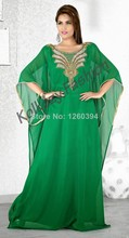 Green Abaya 2016 Beaded Abendkleid Kaftan Islamic Clothing for Women Moroccan Kaftan Abaya Dubai Dress Muslim Evening Gown
