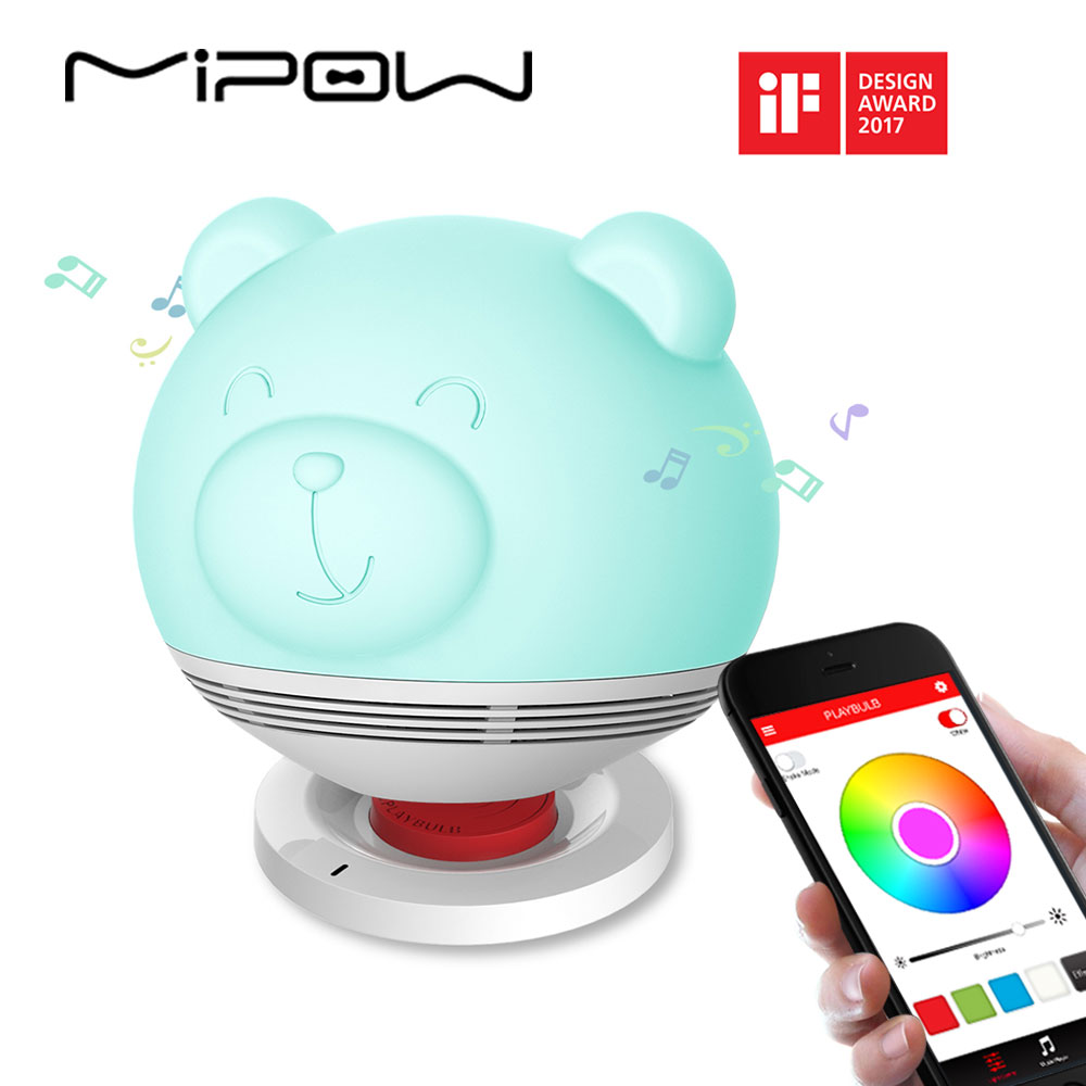 MIPOW Bear Smart Lights Speakers for Valentine's Day PLAYBULB Zoocoro Light Wireless Charge Tap to Change Color Floor Lamp