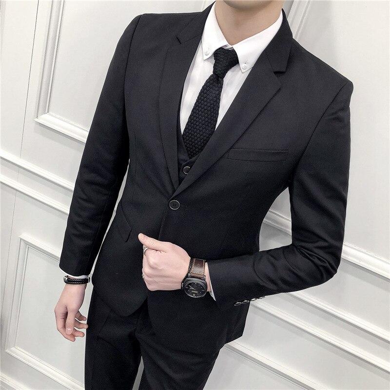 (Blazer+Pants+Vest) Classic Men Formal Business Suit Slim Royal Blue Wedding Groom Wear Male Suit Black Gentlemen Costume