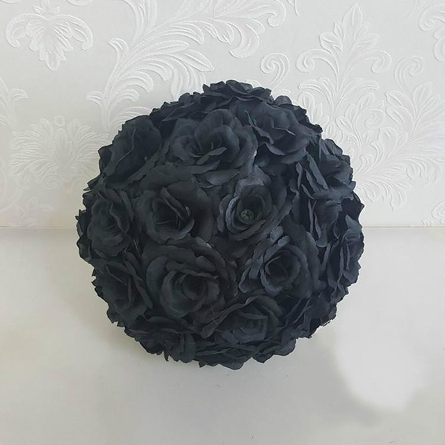 New 8 20cm Black Rose Flower Ball Wedding Decorations Silk Kissing Pomander