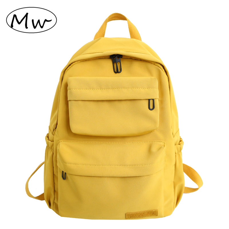 Waterproof Backpack For Women Fashion Nylon Yellow Travel Backpacks Female Large Capacity School Bag For Teenage Girls Mochilas