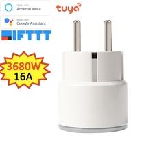 16A 3680W EU Smart WiFi Plug Socket Power Monitoring Timer Switch Outlet Google Alexa IFTTT Tuya Powered WiFi Smart Plug EU