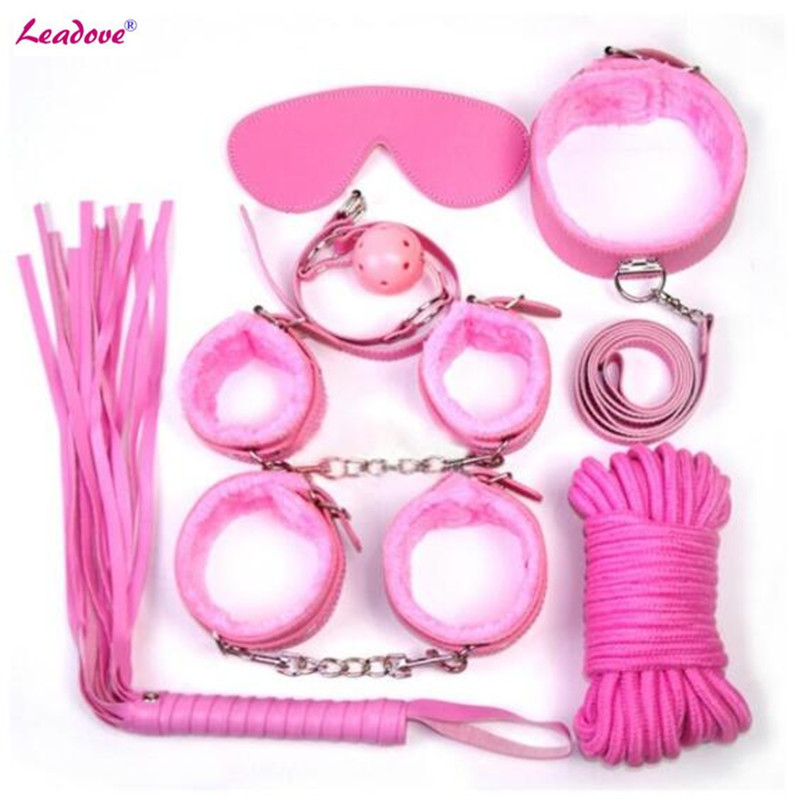 7 Pcs Adult Games BDSM Sex Bondage Kits Set Handcuff Footcuff Whip Rope Blindfold For Couples Erotic Toys Sex Products For Women