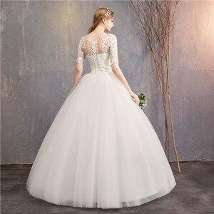 Image 4 - Suknia ślubna 2020 nowe tanie pani wygrać pół krótki kimonowy rękaw księżniczka Illusion suknie ślubne może wykonane na zamówienie Vestido De Noiva F