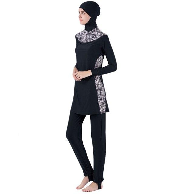 7e600a84cf Muslim Swimwear Islamic Swimsuit Women Hijab Swimwear Full Cover Muslim  Swimming Beachwear Swim Suit Set Leopard Style