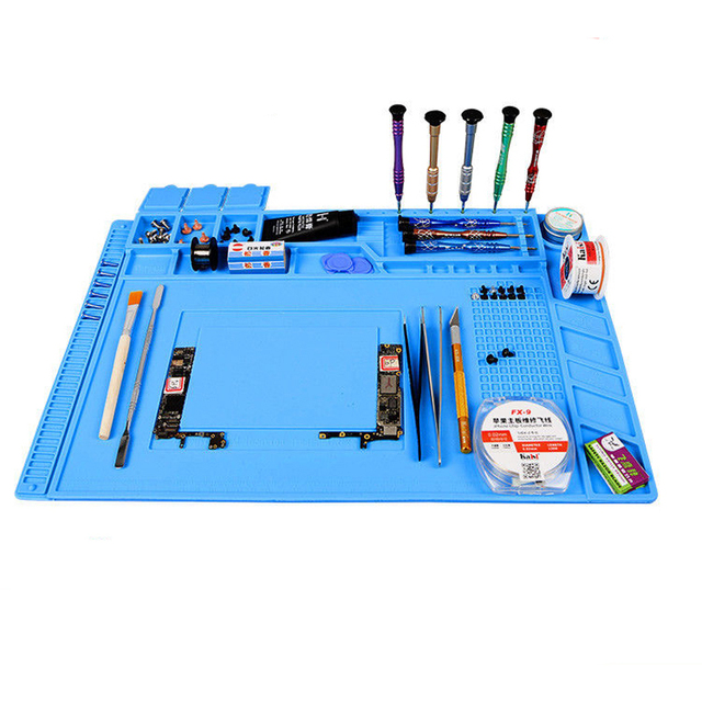 Теплоизоляция силиконовый коврик стол коврики обслуживания платформы для BGA пайки Ремонт станции с магнитной раздел инструмент