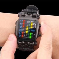 2016 새로운 브랜드 TVG 고무 밴드 방수 쿨 LED 디지털 스포츠 시계 블랙 남성 럭셔리 패션 이진 시계 시계