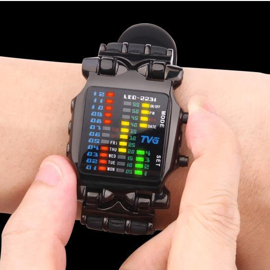 2016 new brand TVG Rubber Band waterproof cool LED Digital Sports Watches Black Men Luxury Fashion Binary Clock Watch