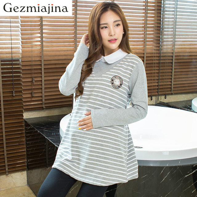 c6708aed6ef69 New fashion Maternity dress fake two pieces shirt Spring autumn Maternity  sweater pregnant woman stripe blouse turn-down collar