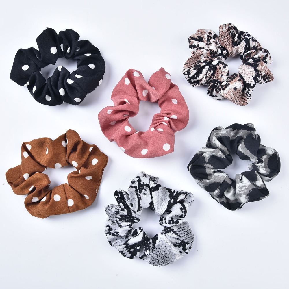 Polka Dot Scrunchies Leopard Printing Chiffon Scrunchies Stretch Ponytail Holders Hair Ties Snake Printing(China)