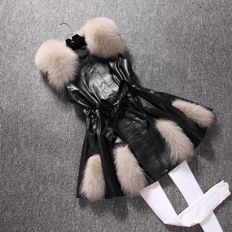 Из Искусственного лисьего меха; 2019 Для женщин Модный жилет из искусственной кожи женская из искусственного лисьего меха; Куртка с воротником с длинным разрезом Slim Fit платье Черная курточка