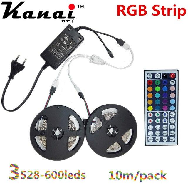 10m 3528 600LEDs Not Waterproof  RGB LED Strip with 12V 5A Transformer  44 Key IR controlle Flexible Light Neon Lamp Tiras EU US