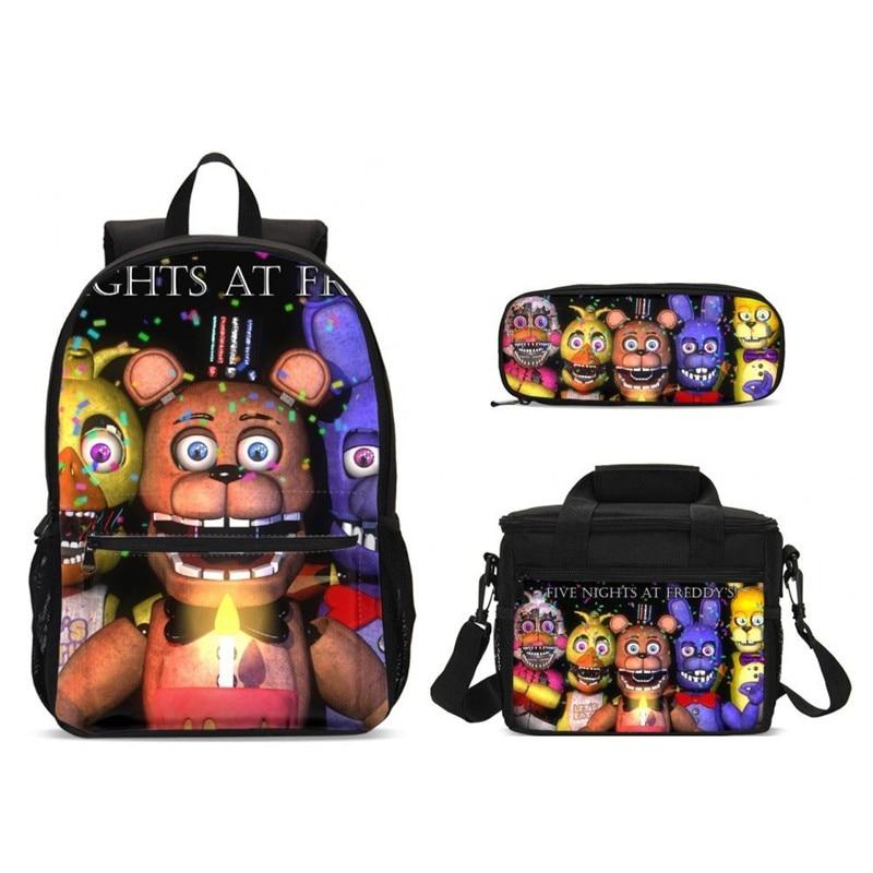 3 pièces/ensemble adolescent garçons cinq nuits à l'école de Freddy sacs à dos enfants bande dessinée sac d'école ensemble alimentaire paquet stylo sac enfants Bookbag