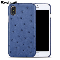 Wangcangli Genuine leather phone case for iPhone X mobile phone case Ostrich skin Half pack phone protective case