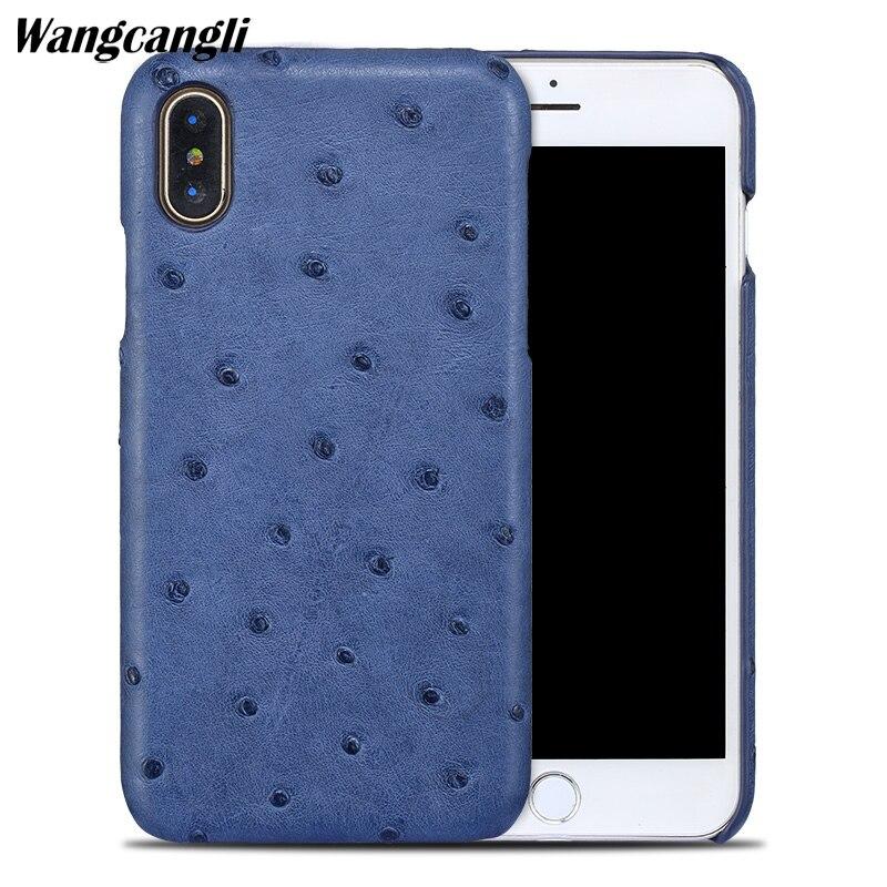 Wangcangli Véritable en cuir téléphone étui pour iphone X étui de téléphone portable peau D'autruche Demi-paquet téléphone étui de protection