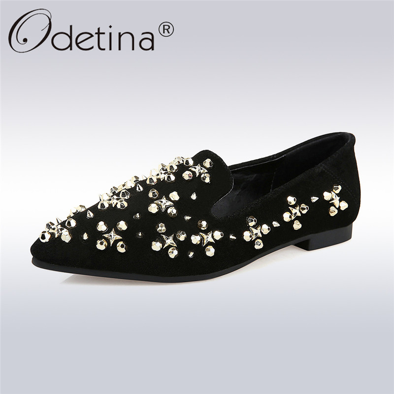 Odetina 2018 New Fashion Genuine Leather Flats For Women Elegant Pointed Toe Slip On Shoes Female Solid Casual Rivet Flat Shoes pu pointed toe flats with eyelet strap