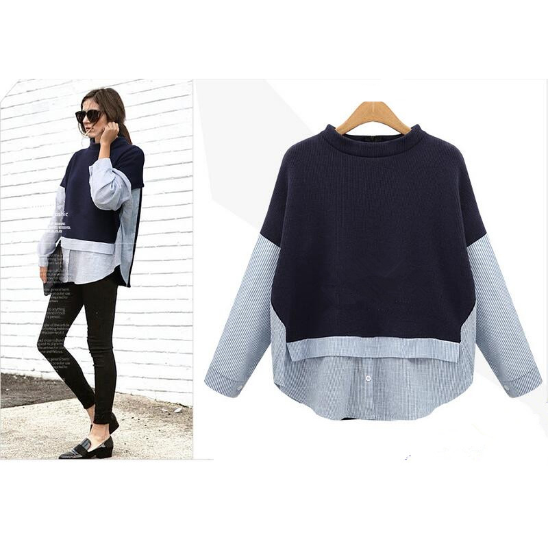 5a3604d13e321 AREALNA Autumn sweatshirt women Style Striped Patchwork Navy Pullover Loose  Casual hoodies for women Plus Size XL 5XL-in Hoodies   Sweatshirts from  Women s ...
