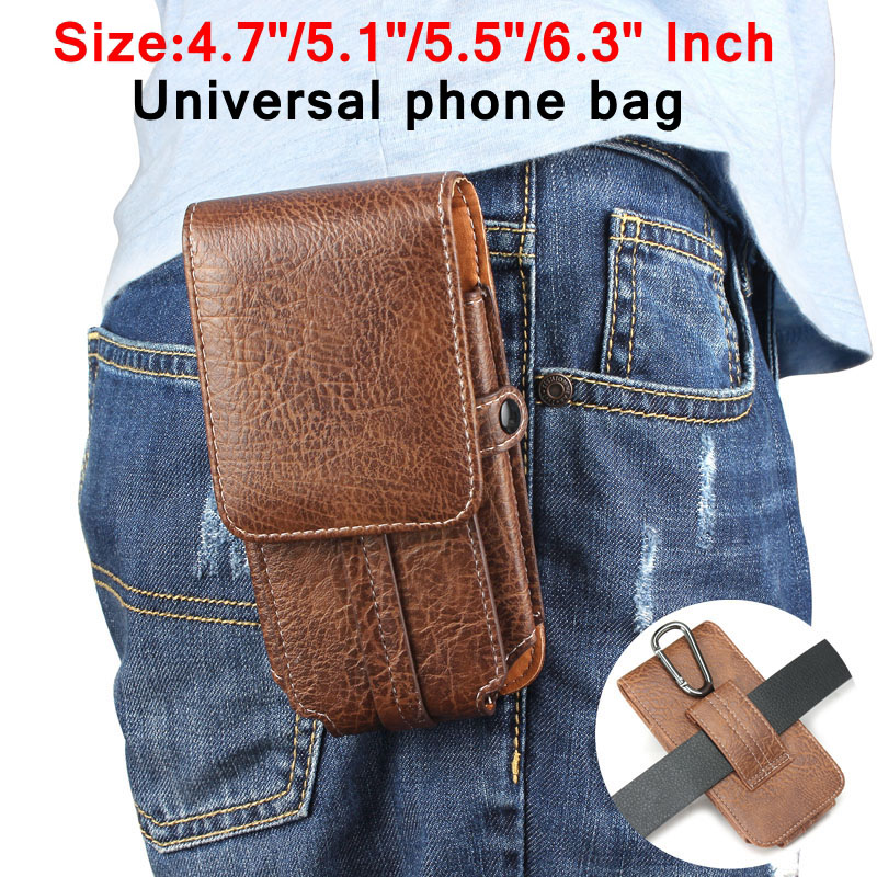 Outdoor Leather Pouch Belt Waist Bag Phone Case Cover For samsung galaxy s7 s8 j5 2016 a5 2017 Hook Holster 4.7'' to 6.3''