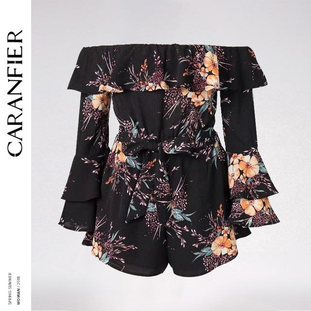 9da48406d87 CARANFIER 2018 Off Shoulder Floral Print Women Jumpsuit Romper Sexy Chiffon  Short Overalls Spring Flare Sleeve