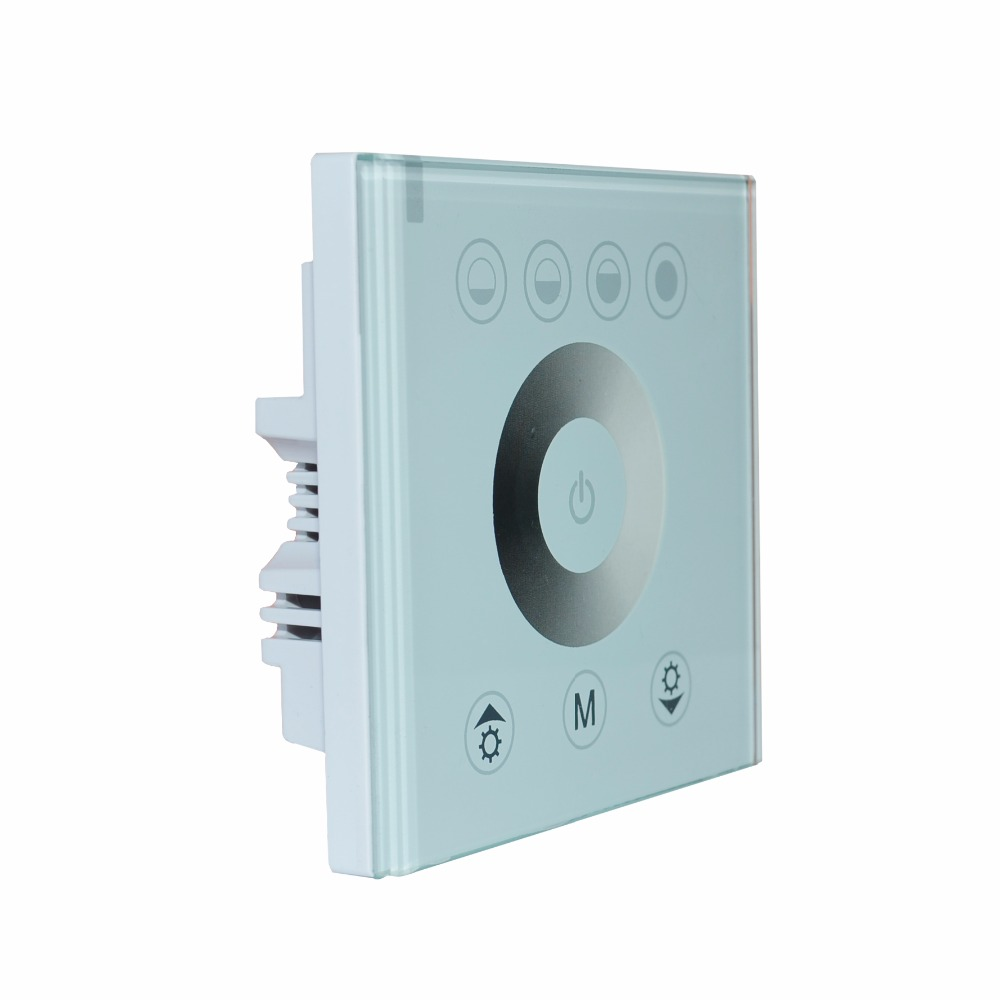 Newest European standard single color touch panel dimmer controller white/black Home Wall Light Switch For LED Strip Tape uk standard 1gang1way led touch dimmer switches white crystal glass panel light wall switch dimmer smart home ac220v