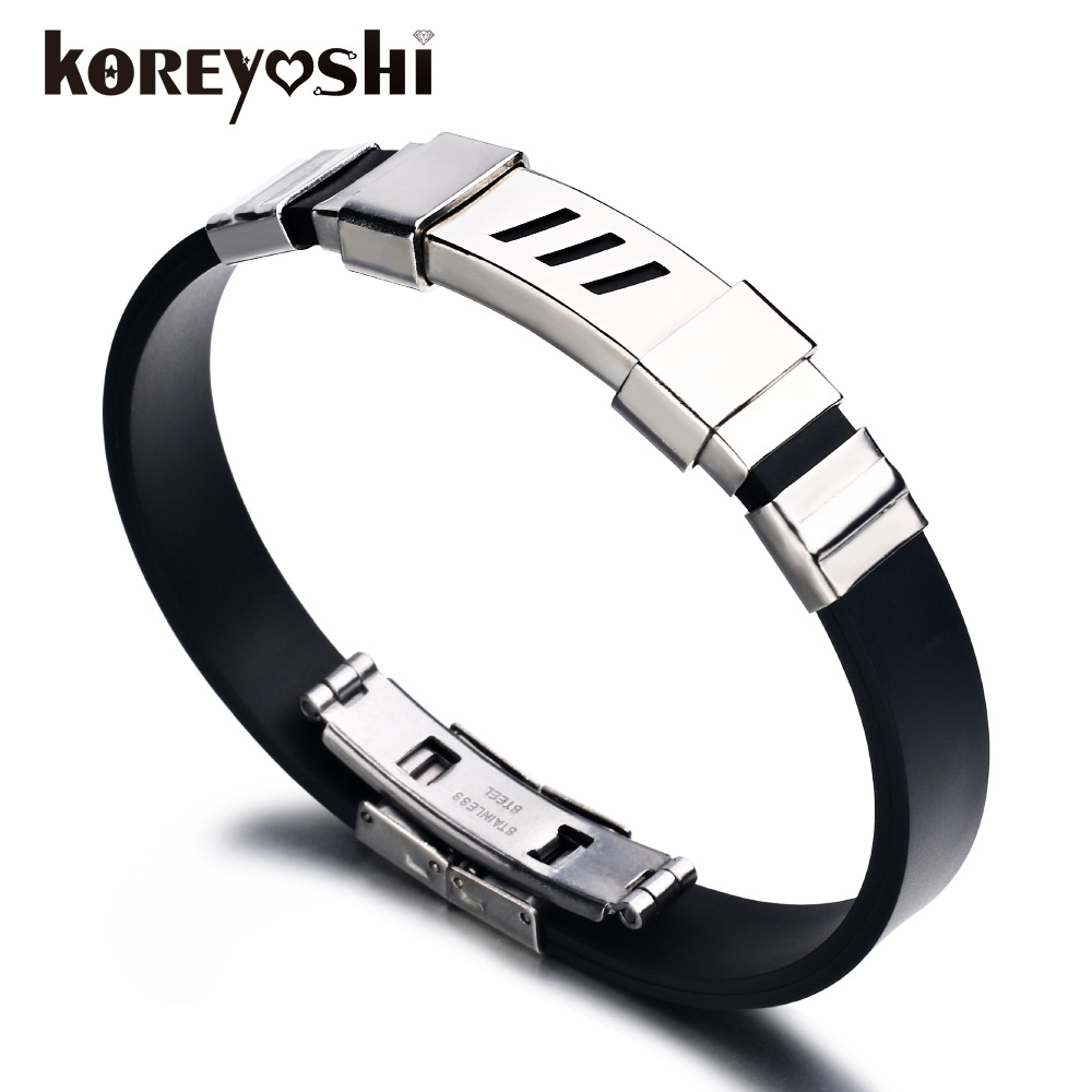 New Mens Black Silicone Stainless Steel Rubber Bracelets For Men Wrist Band  Wristband Mens Cool Bracelets