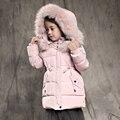 2-10 Т девушки зимняя куртка вниз хлопка мягкий утолщение теплый девушка верхняя одежда снег износ средней длины с капюшоном дети девушка зимнее пальто