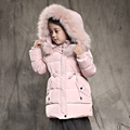 2-10T girls winter jacket down-cotton padded thickening warm girl outerwear snow wear medium-long hooded kids girl winter coat