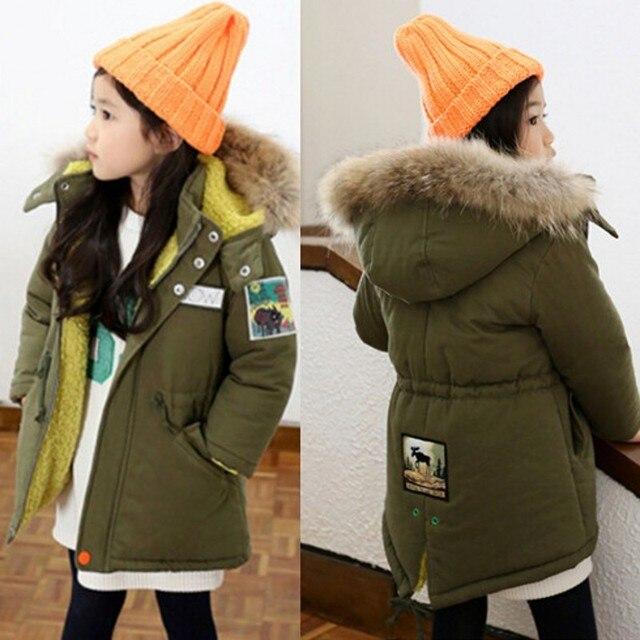 Legergroene Winterjas.Nieuwe Meisjes Winterjas Mode Groene Kleur Dikte Hooded Kids Winter