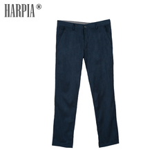 HARPIA Hot Sale Cotton Classic Style Men Casual Trousers Male Business Straight Slim Regular Stretch Dark Blue Leisure Man Pants harpia men s classic casual pants man autumn new cotton elasticity straight trousers male plus size full length business pants