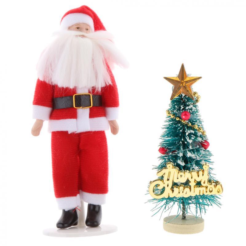1:12 Dollhouse Miniature Santa Claus Model Toy & Mini Christmas Tree Dolls House Xmas Decoration ...