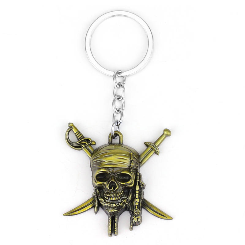 Free Shipping Pirates of the Caribbean keychain Captain Jack Sparrow mask Skull and Crossbones Keyring key chain ring for fans