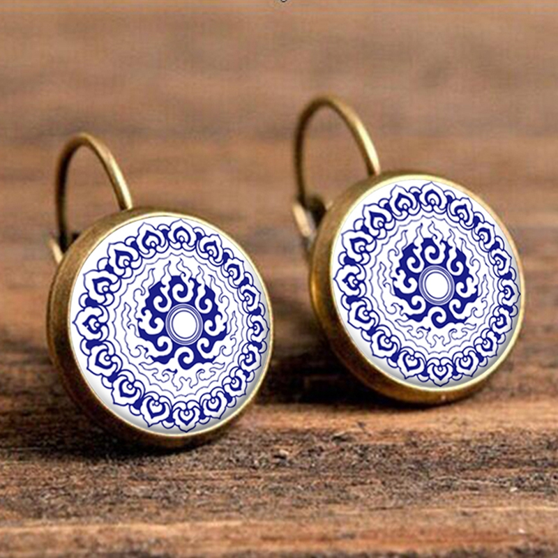 18mm Resin Cabochon Mandala Floral Earrings Ethnic  Buddhism Zen Henna Yoga Earring Jewelry for Women Wholesale Brincos 2018