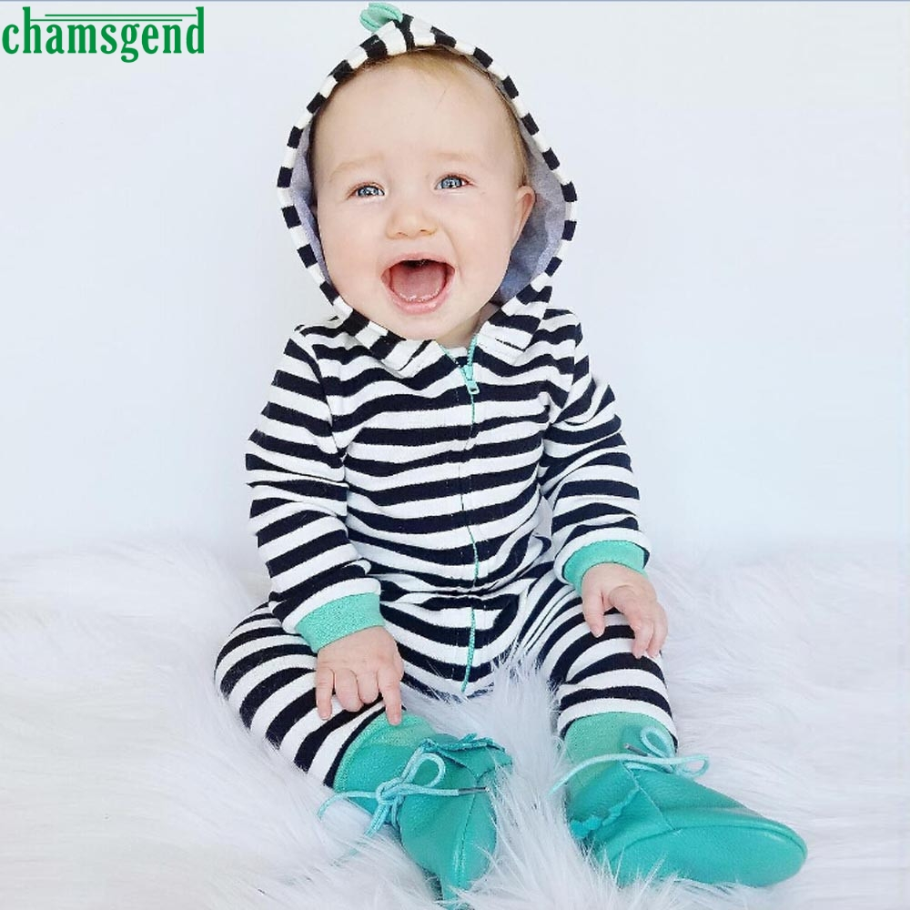 CHAMSGEND Black Infant Newborn Baby Boy Girl Kids Zipper Full Stripe Hooded Romper Jumpsuit Clothes Outfit jul21 P30