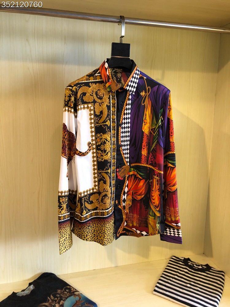 Новинка 2018 Высокое качество модные блузки и рубашки взлетно посадочной полосы Лето мужчина бренд Роскошные Мужская одежда A1072
