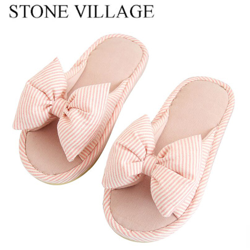 2 Colors Home Slippers Spring Autumn Butterfly-Knot Indoor Shoes Cotton Fabric Striped Women Slippers Cute Soft Home Shoes drop shoulder knot hem striped jumper