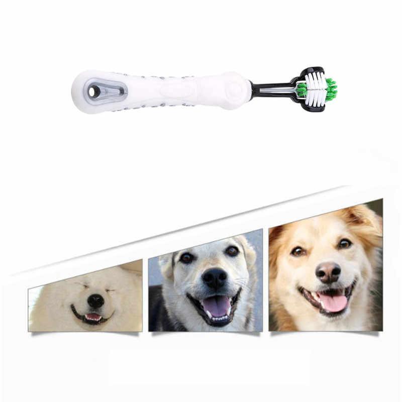 뜨거운 판매 세 양면 애완 동물 칫솔 개 브러쉬 추가 나쁜 호흡 타르 타르 치아 개 케어 개 청소 입 YH-461651