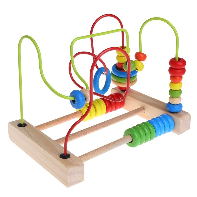 Деревянный малыша Игрушечные лошадки кружок из бисера лабиринт развивающие Игрушечные лошадки подарок для Для детей W30