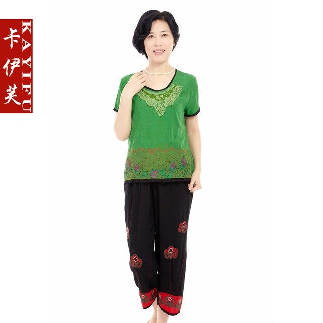 Quinquagenarian women's summer short-sleeve T-shirt elegant lace collar middle-age women summer mother clothing set