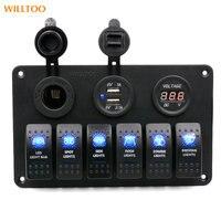 2016 1 Pcs New 12-24V 6 Gang Waterproof Car Auto Boat Marine LED Rocker Switch printed Panel Circuit Breaker Water-Resistant