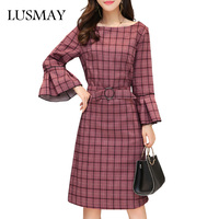 Casual Plaid Dress Autumn 2017 New Arrival 5XL Plus Size Dresses Women Clothing Korean Slim Flare