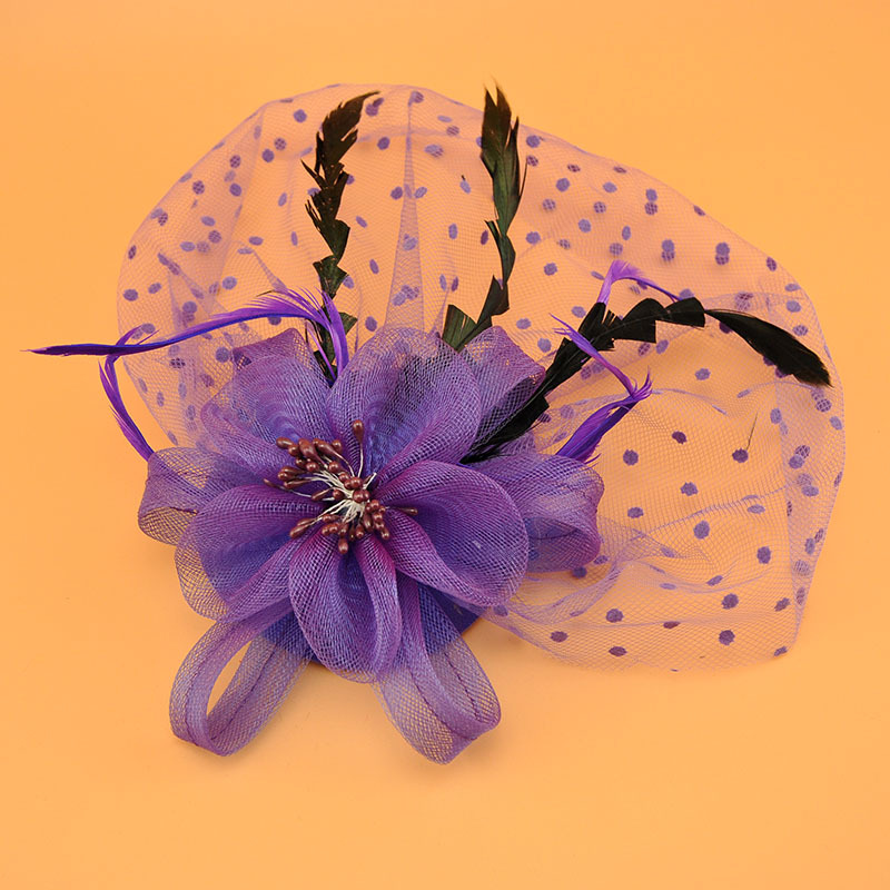 Купить с кэшбэком Bride Fascinator Wedding hat  Hair ddecoration bridal accessories chapeau femme mariage  black/white/Purple