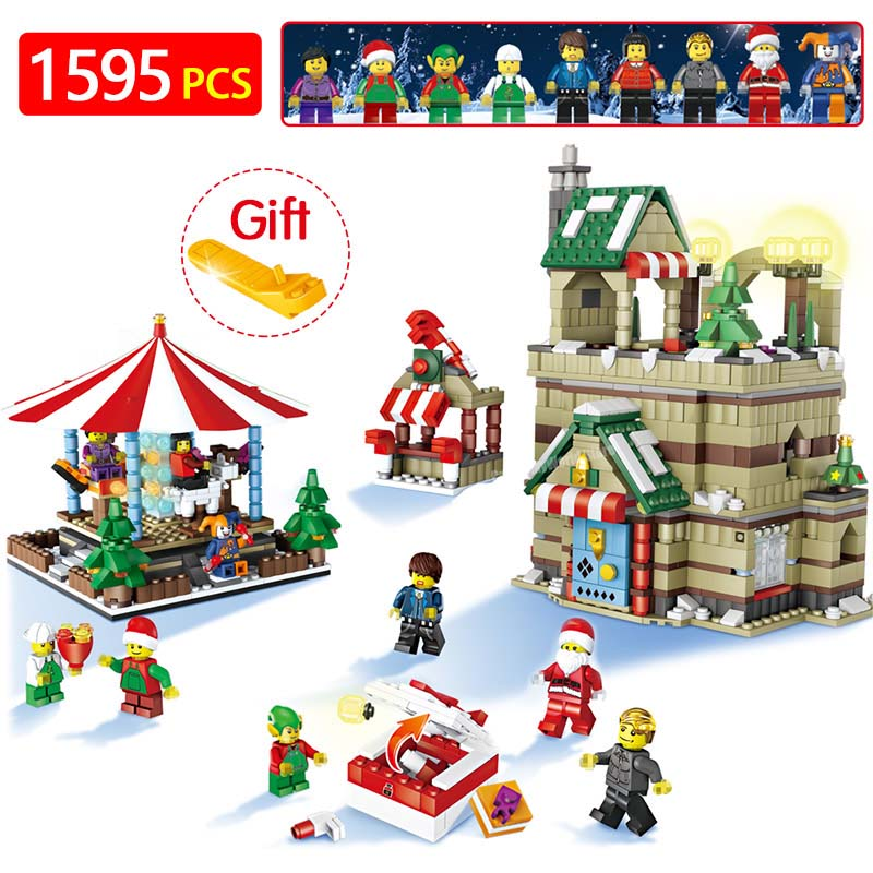 Christmas Theme Gifts Creator Blocks Technic Compatible LegoINGLYS Santa Claus Birth tree Sets Bricks Toys For Children 4002pcs best large building blocks sets city street center rally square compatible legoinglys creator technic toys for children