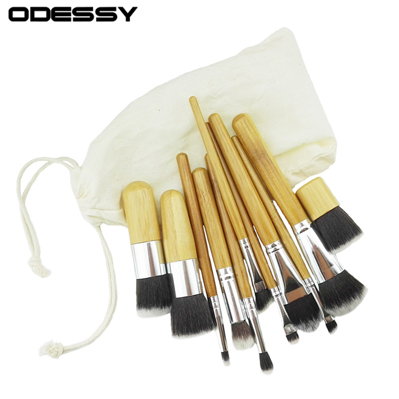 11pcs Natural Bamboo Handle Eyeshadow Foundation Makeup Brushes Cosmetics Tools Cosmetic Brush Set Blush Soft Kit With Bag new lcbox professional 16 pcs makeup brush set kit pouch bag cosmetic brush kit cosmetic powder foundation eyeshadow brush tools