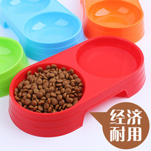 Colored plastic pet bowl dog cat double green size No.